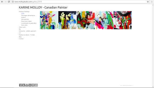 A screen capture from Karine Molloy's art portfolio website