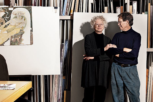 A photograph of Gladys Nilsson with Jim Nutt in her studio