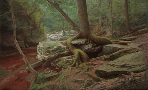 A painting of a tree growing out of a rocky outcropping
