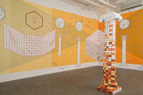 An installation view of two works by Jesse Bransford
