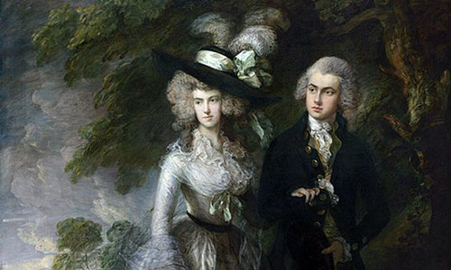 A detail of The Morning Walk, a painting by Thomas Gainsborough