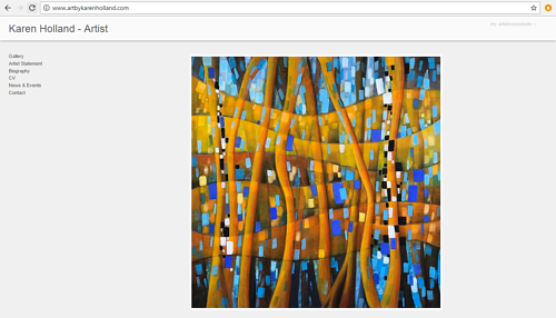 A screen capture of Karen Holland's art website