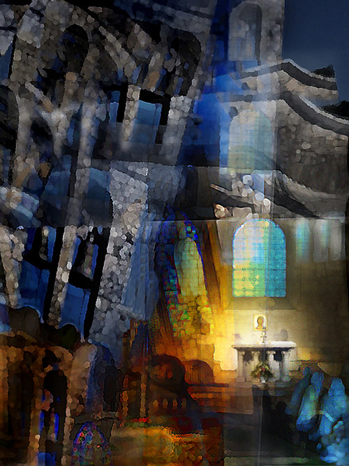 A digital painting of religious and church elements