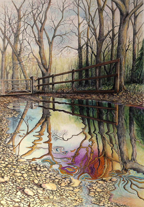 A painting of some trees reflected in still water
