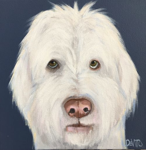 A painting of a shaggy white dog