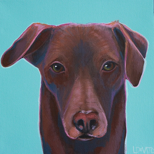 A painting of a chocolate colored labrador retriever
