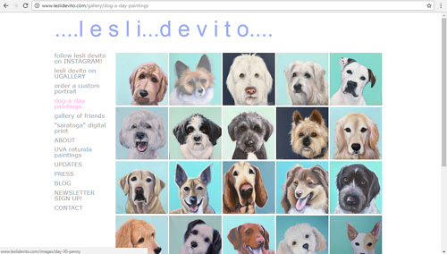 A gallery of dog portraits on Lesli Devito's art website