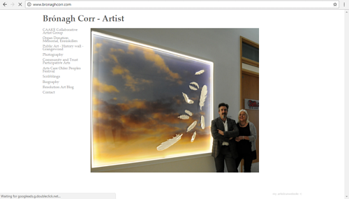 A screen capture of Bronagh Corr's art website