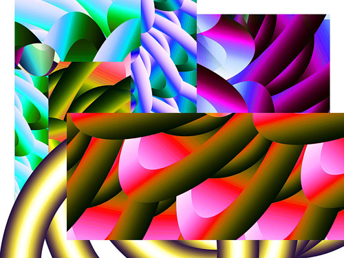 A digital artwork with layered cylindrical forms
