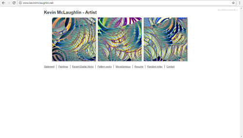A screen capture of Kevin McLaughlin's art website