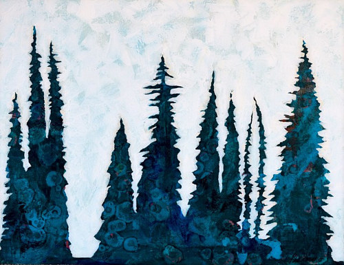 A painting of silhouetted trees on a white background