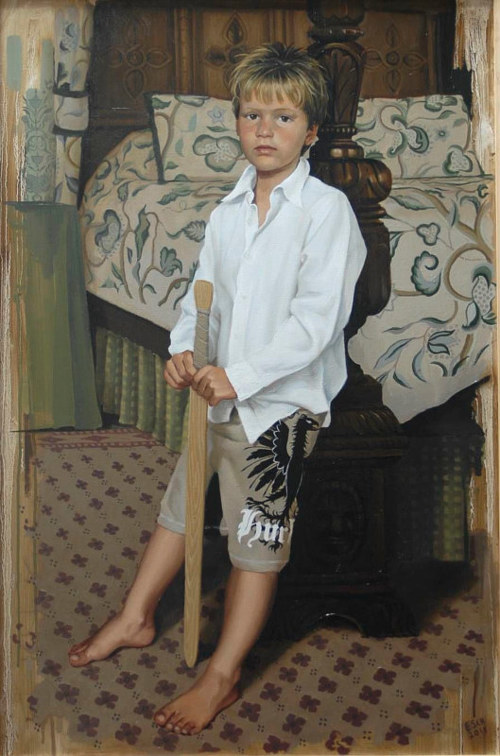 An oil painting of a young boy
