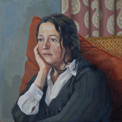 A painting of a middle-aged woman in a realistic style