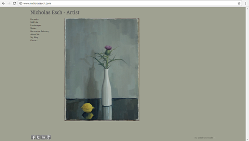 A screen capture of Nicholas Esch's art website
