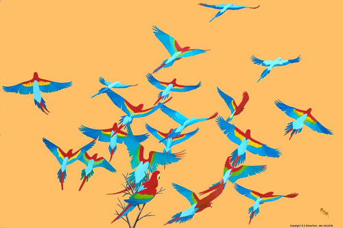 A painting of a flock of colorful birds taking flight