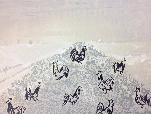 A silkscreen print of a road blocked by chickens