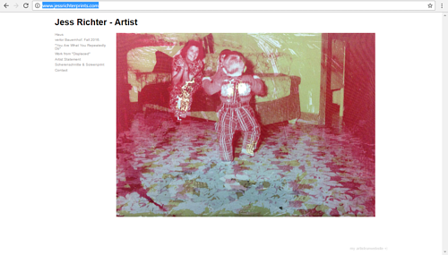 A screen capture of Jess Richter's art website