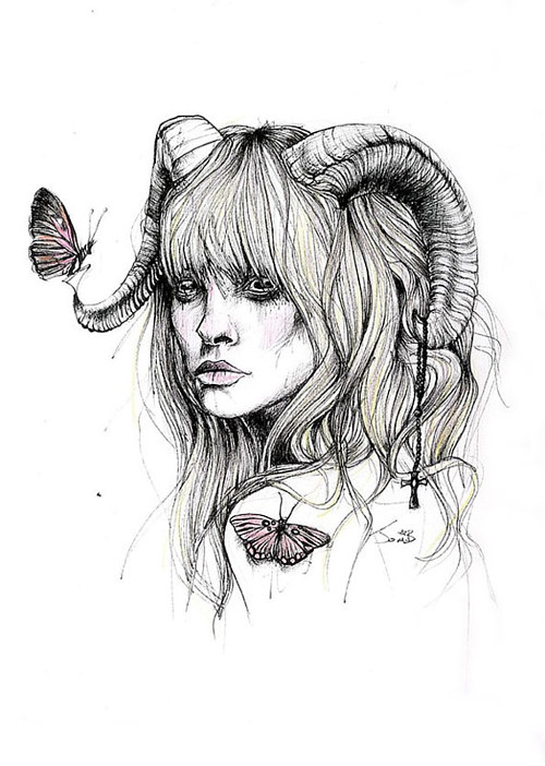 An ink drawing of a female figure with horns
