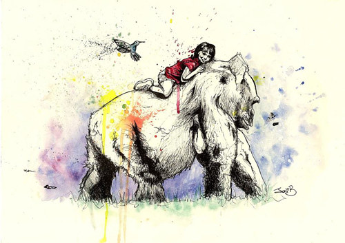 An illustration of a child riding a mythical beast