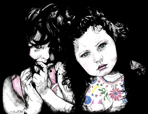 An ink drawing portrait of two young girls