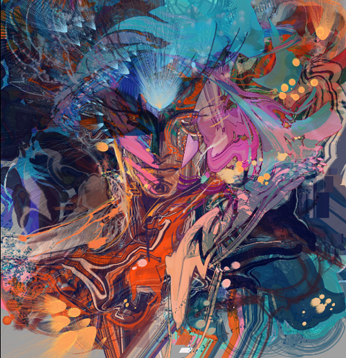 A digital artwork depicting a male figure hidden in thick layers of color