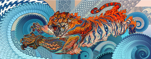 A digital artwork of a tiger running through a fractal landscape