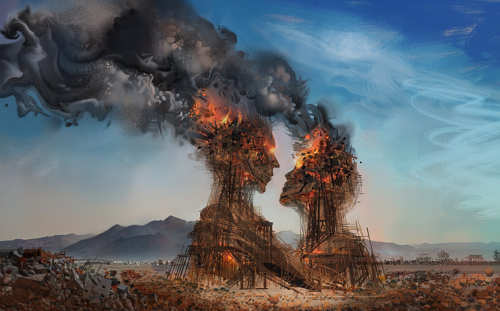 A digital artwork of a couple drawn from burning structures