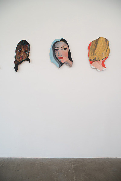A series of three paintings by Becky Kolsrud