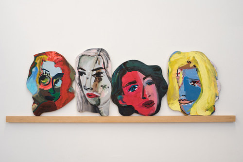 An installation photo of Becky Kolsrud's heads and gates