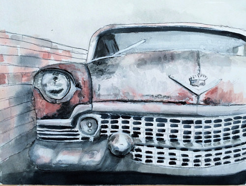 A watercolor painting of a pink cadillac
