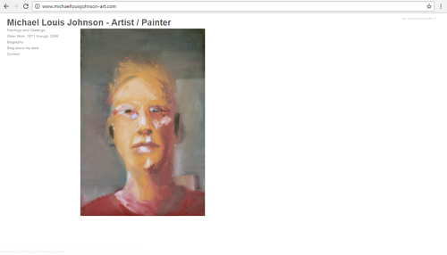 A screen capture of Michael Louis Johnson's art website