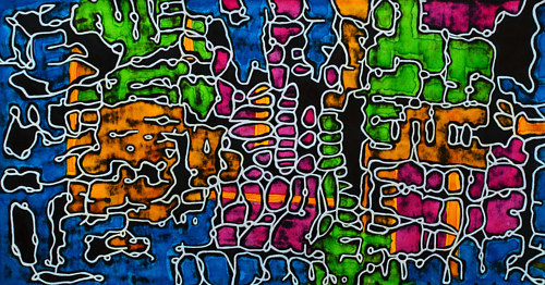 An abstract drawing with neon colors and dark black spaces