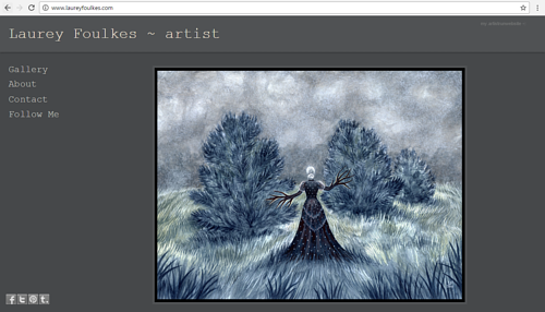 A screen capture of Laurey Foulkes' art website