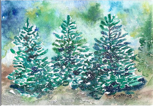 A watercolor painting of three spruce trees