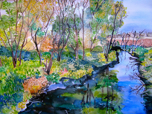 A painting of a flowing creek in watercolor