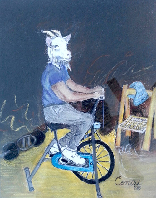 A pastel drawing of a man with a goat's head exercising on a bike