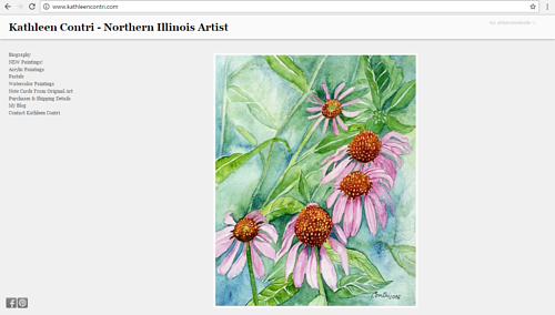 A screen capture of Kathleen Contri's art website