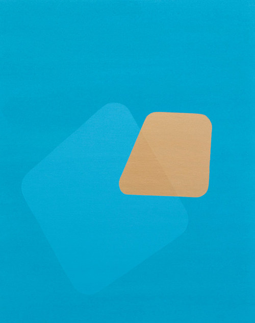A painting of a blue shape and a yellow shape on a blue background
