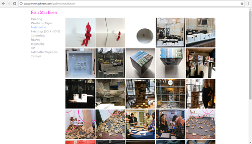 The gallery of installation works in Erin MacKeen's portfolio website