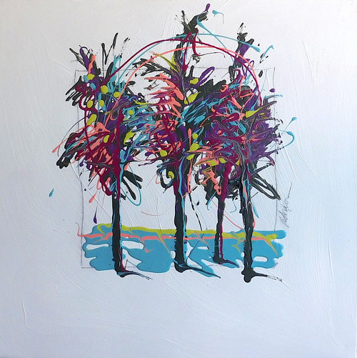 An enamel painting of three trees