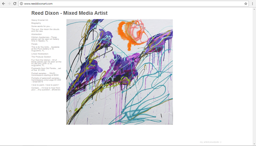 A screen capture of Reed Dixon's art website