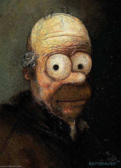 Homer Simpson painted in the style of Rembrandt