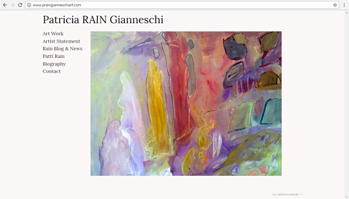 A screen capture of Patricia Rain Gianneschi's art website