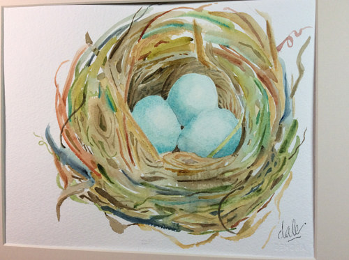 A watercolor painting of a bird's nest