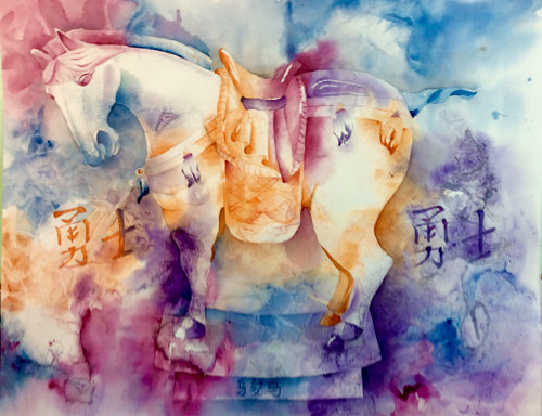 A watercolor painting of a sculpted horse