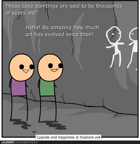 illustration of two stick figures looking at cave paintings