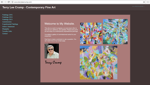 The front page of Terry Lee Crump's art website