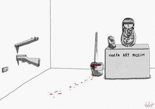 illustration showing an art gallery attendant sitting at a desk with the words modern art museum written on it with a gun sticking out of the wall