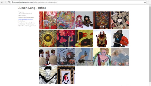A gallery of work on Alison Lang's textile art website