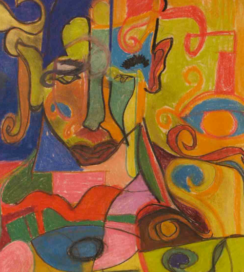 An abstract pastel drawing of a human figure